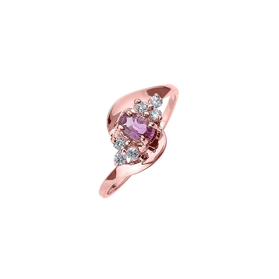 Solid 14k Rose Gold Beautiful Diamond and Pink Sapphire Proposal and Birthstone Ring