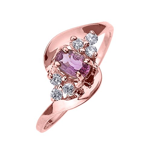 - Solid 14k Rose Gold Beautiful Diamond and Pink Sapphire Proposal and Birthstone Ring (Size 6)