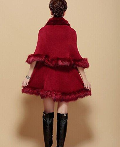 Jacket Revêtement Marron Cape Plaer Faux Aux Femmes Fox Fur Châle Cardigan nYqz0qvxw