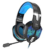 VersionTECH. Gaming Headset for Xbox One PS4 Controller - PC - Wired Surround Sound Gaming Headphones with Noise Cancelling Mic - RGB LED Backlit for Nintendo Switch 3DS - Mac - Destop Computer Games -Blue