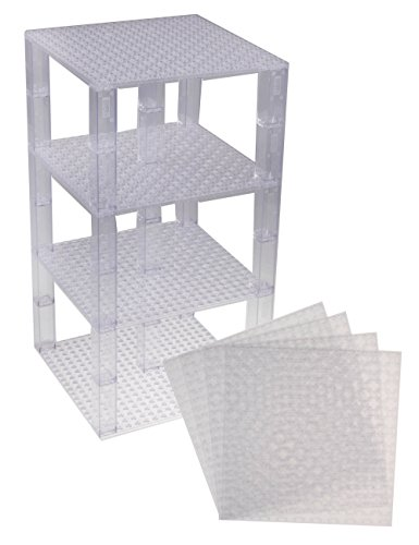 Strictly Briks Classic Baseplates 6 x 6 Brik Tower 100% Compatible with All Major Brands   Building Bricks for Towers and More   4 Clear Stackable Base Plates & 30 Stackers