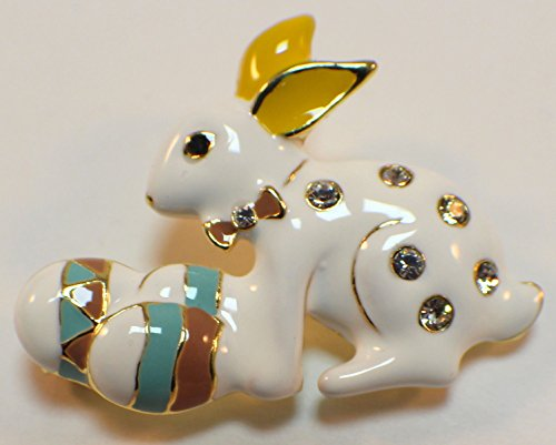 Bunny Rabbit And Easter Egg Rhinestone Pin Brooch Scarf ClipsCorsage Jewelry for Lady (Easter Egg Scarf)