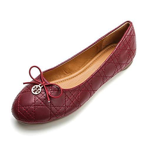 Meeshine Womens Round Toe Bowknot Ballet Comfort Slip on Flats Shoes (Classic Red Wine) US 6