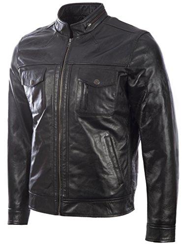 Cuero MDK 100 Negro Suave Chaqueta Muy De Auténtico Estiloso Muy Por Moto Hombres Moda OcCaqR7XC