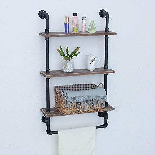 Industrial Bathroom Shelves Wall Mounted 3 Tiered,Rustic 24in Pipe Shelving Wood Shelf With Towel Bar,Black Farmhouse Towel Rack,Metal Floating Shelves Towel Holder,Iron Distressed Shelf Over Toilet by GWH (Image #4)