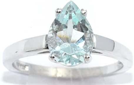 10x7mm Simulated Aquamarine Pear Ring .925 Sterling Silver Rhodium Finish