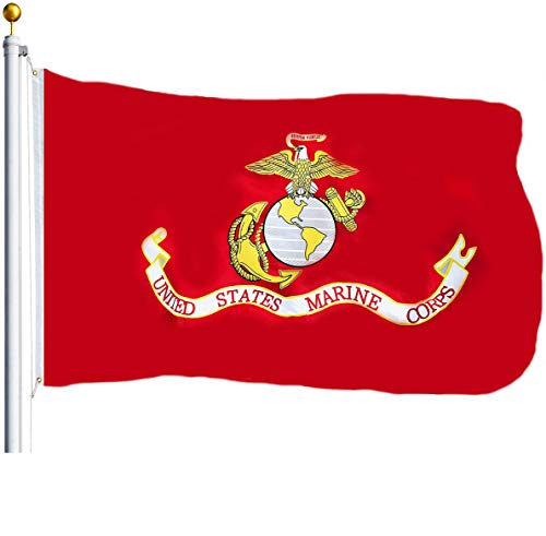 (G128 - USMC US Marine Corps Flag 3x5 ft Printed United States Marine Corps Flag 2 Brass Grommets Quality Polyester Flag Indoor/Outdoor)