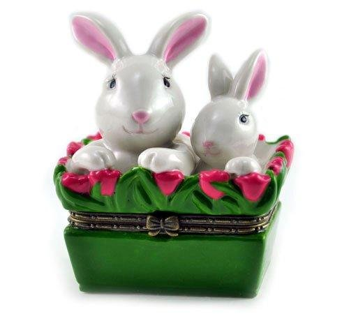 Art Gifts Easter Bunny Mom and Baby Rabbit Basket Porcelain Hinged Trinket ()