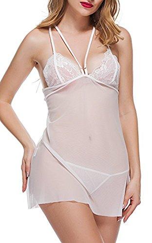 4eae33a01e BMAKA Pijama Lencería Picardías de Encaje y Tanga a Juego para Mujer