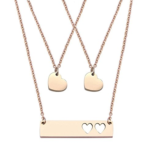 JJTZX Mother Daughter Bar Necklace Set Horizontal Bar Necklace with Cutout Heart Mommy and Me Bar Necklace Set First Day of Kindergarten Gift (Rose Gold bar Set-2 Hearts) ()