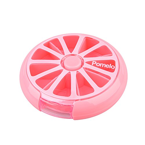 LazyMe Weekly Pill Box Round Cute 7 Compartments Medicine Organizer (Pink) (Pill Case Circle)