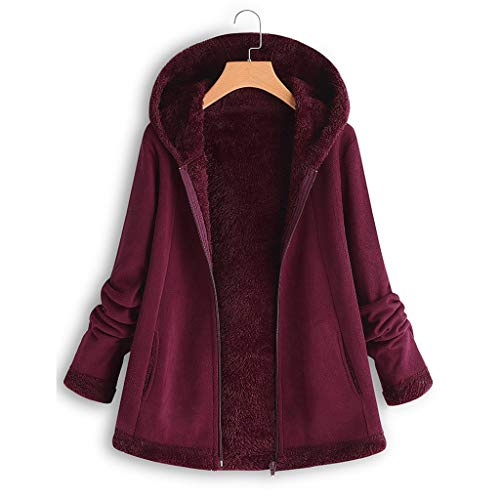 ANJUNIE Warm Winter Jacket Women's Curved Hem Longline Faux Fur Sherpa Fleece Hoodie Coat(Wine red,4XL)
