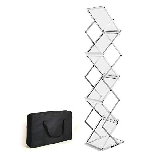 HUAZI Foldable Magazine Brochure Catalog Literature Holder Rack Stand- Portable 6 Pockets Magazine Rack with Carrying Bag for Trade Show, Exhibitions, Office and Retail Store Display