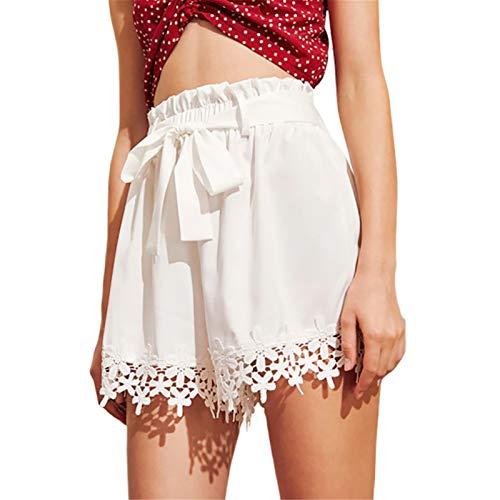 Thenxin Summer Beach Loose Shorts for Women Paper Bag Waist Lace Trim Casual Straight Leg Hot Pants(White,XL