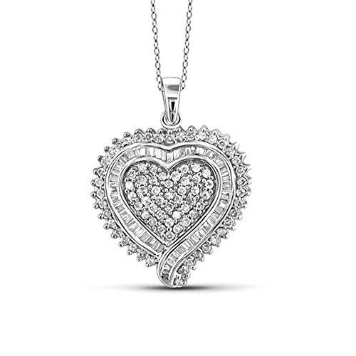 (TrioStar Ladies 14k White Gold Finish Round & Baguette Diamond Heart Love Charm Pendant 0.75 CT Necklace)