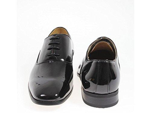 Garçons Goor 4 Oeillet Chaussures Habillées En Cuir Verni Noir, Noir, 12 Au Enfant
