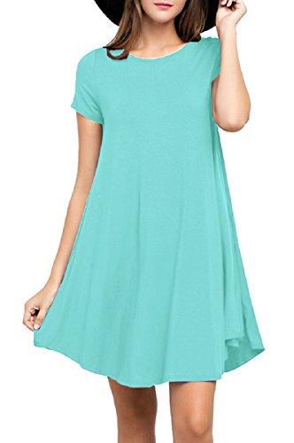 Viishow Women's Swing Dress Casual Loose T-Shirt Dress (XL, Nile Blue)