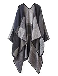 Urban CoCo Women's Fashion Retro Flower Printed Scarf Poncho Shawl Cape (Black)