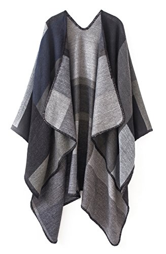 Urban CoCo Women's Color Block Shawl Wrap Open Front Poncho Cape (Series 1-black) (Tartan Hooded Down Coat)