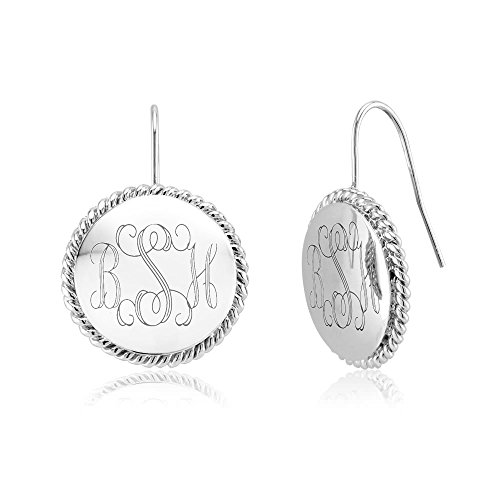 Azury Personliazed Braided Round Monogram Earrings-Free Engraving