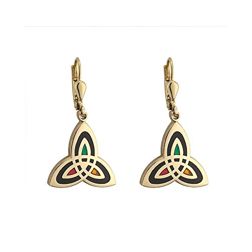 Trinity Knot Earrings Gold Plated & Black Made in Ireland