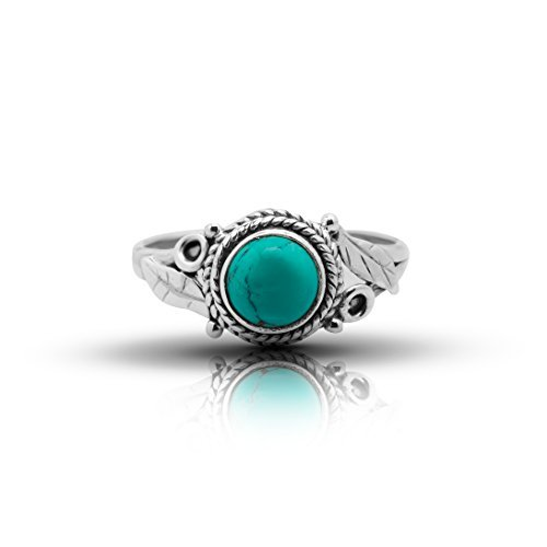 Synthetic Turquoise Feathers Sides Round Stone Ring 925 Sterling Silver Vintage Tribal Gypsy Boho Look US Size 6 7 8 9 ()