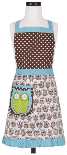 - KAF Home Kid's Apron with 1 Pocket & Extra Long Ties - Adjustable Bib Hoot Apron - Machine Wash - Used in Kitchen, Gardening