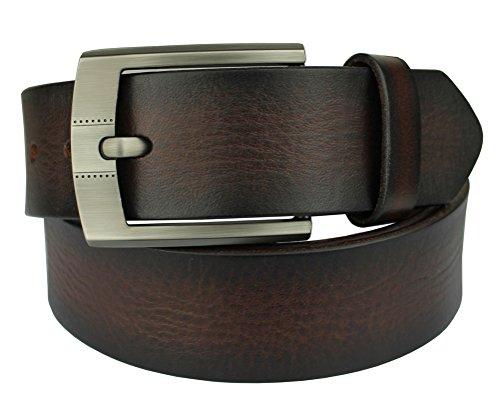 Bullko Men's Retro Pin Buckle 7009 Genuine Leather Belt Coffee 34-36inch