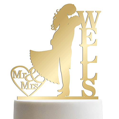 Groom & Bride Kissing Each Other Customized Wedding Cake Topper Personalized Cake Topper Wedding Favor Last Name To Be | Mirrored Cake Toppers