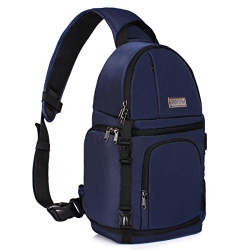 MOSISO Camera Sling Bag, DSLR/SLR/Mirrorless Case Water Repellent Shockproof Backpack with Adjustable Crossbody Strap and Removable Modular Inserts Compatible with Canon, Nikon, Sony etc, Navy Blue
