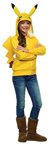 Pokemon Hoodies With Ears (Girls Halloween Costume- Pikachu Hoodie Tween Medium)