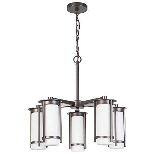 Eglo Lighting 203116A Truxton - Five Light Chandelier, Graphite Finish with White Glass (Graphite Steel Rod)