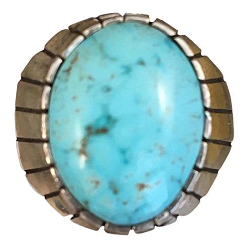 Sterling Silver Navajo Kingman Turquoise Ring Size 9.5 Signed By Ray Jack