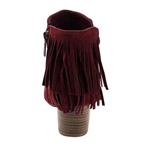 Breckelles Breckelles GK88 Women Faux Suede Fringe Chunky Heel Ankle Boot Wine 7Zzhb