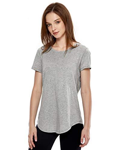 CRZ YOGA Women's Pima Cotton Workout Activewear Travel Sports T-Shirt Short Sleeve Tee Heathered Medium Grey XS(0/2)