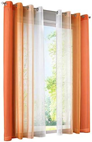 86 York 2 Panels Long Transparent Voile Window Treatment Grommet Curtain for Living Room 55 W x 96 H, Orange