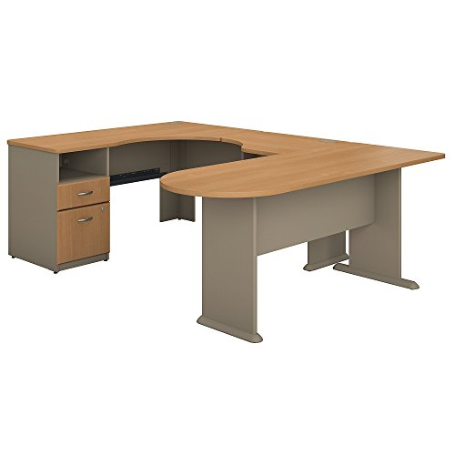 Bush Business Furniture Series A U Shaped Corner Desk with Peninsula and Storage in Light Oak and Sage by Bush Business Furniture