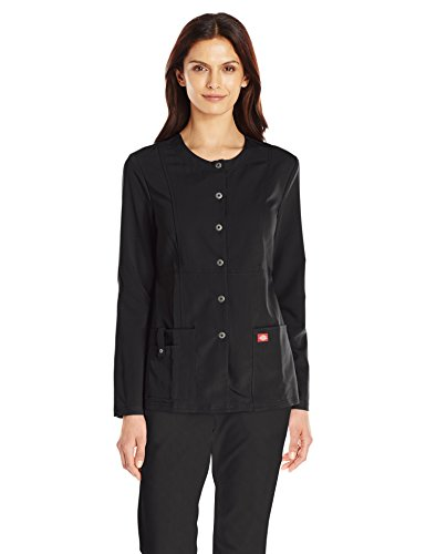 (Dickies Women's Xtreme Stretch Crew Neck Snap Front Warm-Up Jacket, Black, XX-Large)