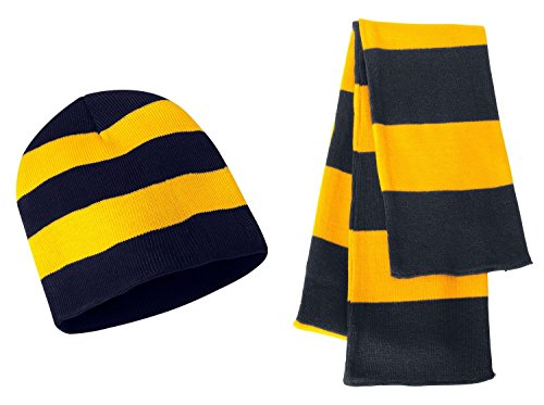 Sportsman Knit Collegiate Rugby Stripe Winter Scarf & Beanie Hat Set - Assorted Colors, Navy/Gold (Rugby Scarf)