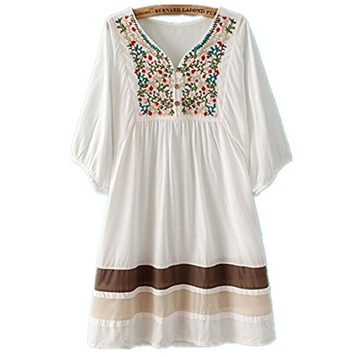 ASHER FASHION Women#039s Tunic V Neck Embroidered Peasant Bohemian Dress