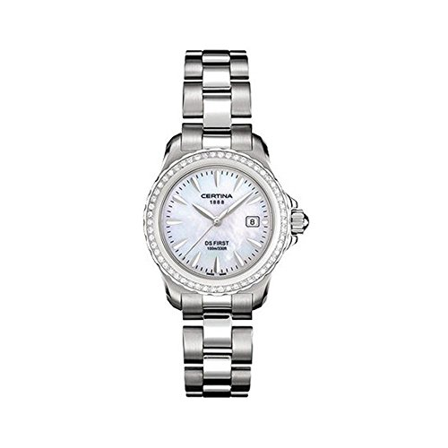 Certina C12971844891 31mm Diamonds Silver Steel Bracelet & Case Anti-Reflective Sapphire Women's Watch