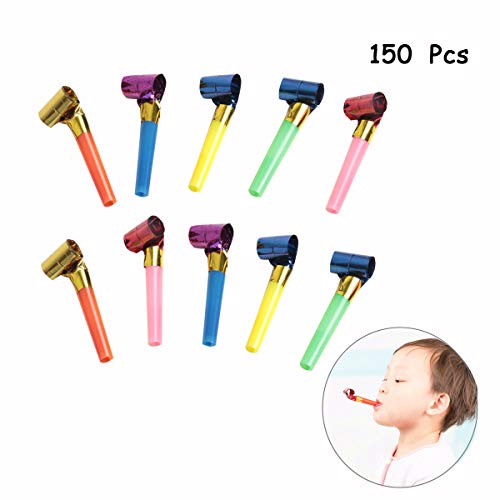 SBYURE 150 Pcs Musical Blow Outs, Party Horns Noisemakers Blowouts Whistles for Birthday Party Favors, New Years Party Noisemakers,Party Blowouts Whistles,Fun Party Favors, Assorted Colors -