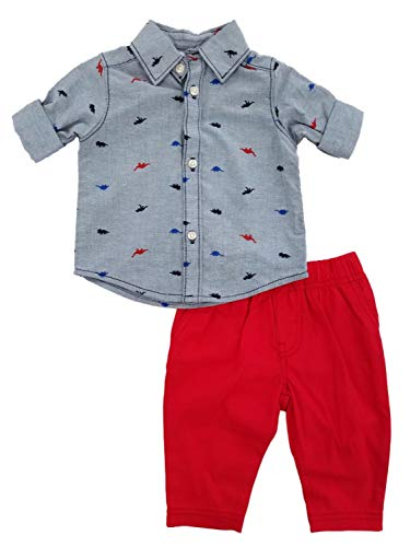 (Carter's Baby Boys' Button Front Dino Print Top and Canvas Pants Set 6 Months)