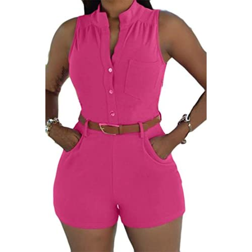 Discount Cromoncent Womens Summer Belt Pocket Sleeveless Short Playsuit Jumpsuits Rose US-M free shipping 7m1eWdYX