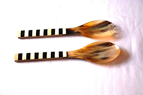 HANDMADE Serving Buffalo Horn Caviar Spoon with Wooden Handle Cutlery Set of 2 (Horn Serving Spoon)