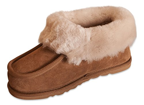Nordvek Womens Genuine Sheepskin Boot Slippers With Non Slip Sole & Cuff # 404-100 Chestnut jwaSfSpkgL