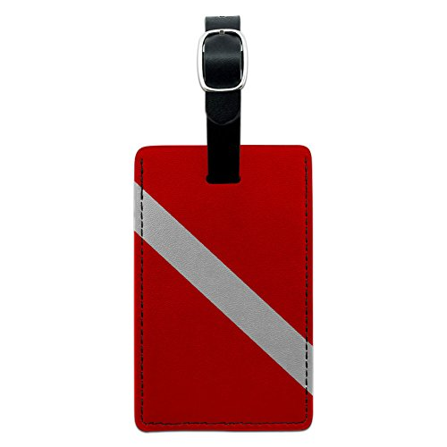 Graphics & More Flag-Scuba Diver Dive Leather Luggage Id Tag Suitcase Carry-on, Black ()