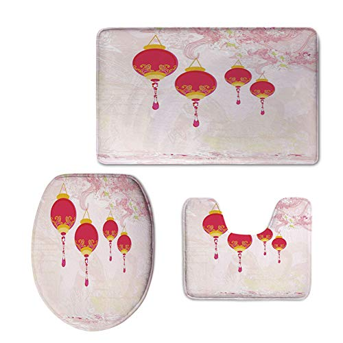 iPrint 3 Piece Extended Bath mat Set,Lantern,New Year Chinese Calendar Celebrations Eastern Imagery Abstract Asian Art Decorative,Hot Pink Yellow,Increase