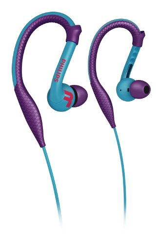 Philips SHQ3200PP/28 Action Fit Sports Ear Hook Headphones, Purple (Sports Ear Hooks Action)