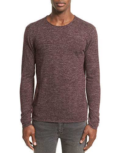 John Varvatos Collection Heathered Crewneck Sweater Large Oxblood
